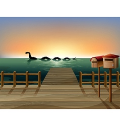 Sunset at the port with two wooden mailboxes vector image vector image