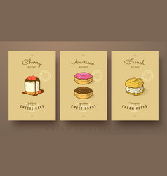 sweet collection of cherry cheese cake donut and vector image