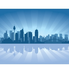 sydney australia skyline with reflection in water vector image