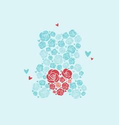 teddy bear of roses bear holds heart vector image