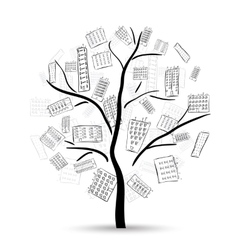 Tree with houses vector