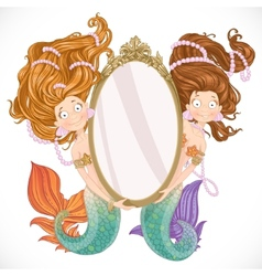 Two mermaid holding a big mirror vector image