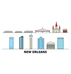 united states new orleans flat landmarks vector image