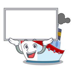 Up board ship in the transportation ocean mascot vector