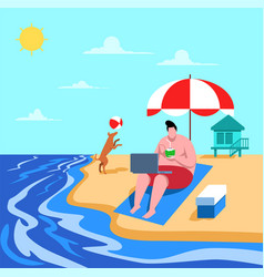vacation on beach vector image