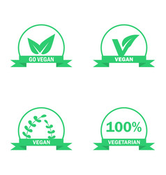 Vegetarian logos set green food symbols vector