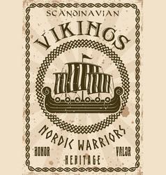 vikings sailship or drakkar vintage poster vector image