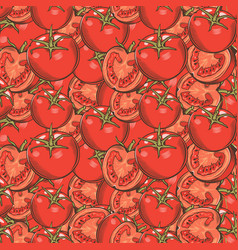 Vintage red tomatoes seamless pattern vector