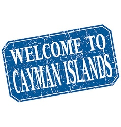 Welcome to Cayman Islands blue square grunge stamp vector
