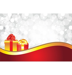 white christmas background gifts golden stripe vector image
