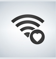 wifi connection signal icon with heart or vector image