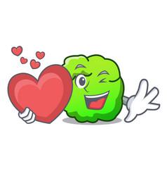 With heart shrub mascot cartoon style vector