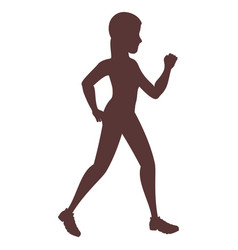 woman running silhouette icon vector image