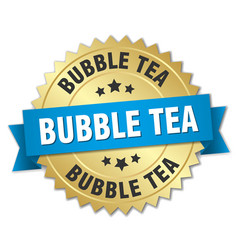 bubble tea round isolated gold badge vector image vector image