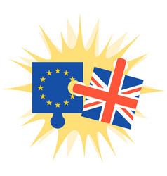 crashing jigsaw puzzle of eu flag and britain flag vector image