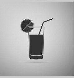 glass of juice orange slice and tube for drinking vector image