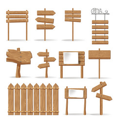 wooden signages and direction signs icons vector image