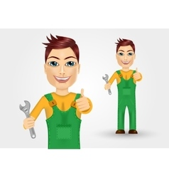 young plumber dressed in green work clothes vector image