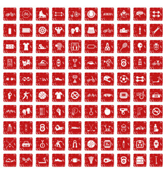 100 sport icons set grunge red vector