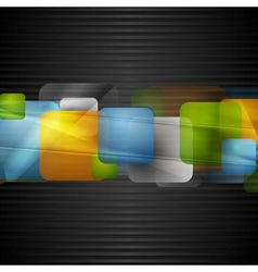 Bright squares on the dark striped background vector image vector image