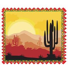 Desert wild nature landscape with cactus vector image