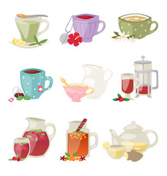 different tea soft brand drinks glasses and teapot vector image vector image