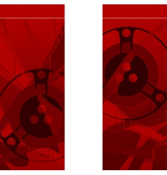 red background with filmstrip and coils vector image