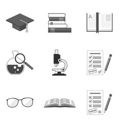set of education icons and symbols in trendy flat vector image