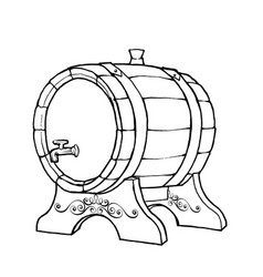 sketch of a wooden wine barrel vector image