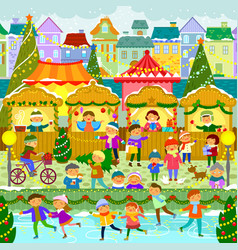 christmas market in town vector image