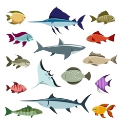 Colored fish icons vector image vector image