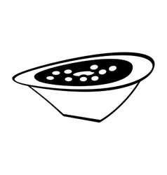delicious soup plate food hot outline vector image