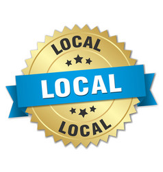 local 3d gold badge with blue ribbon vector image