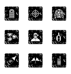 Paintball icons set grunge style vector image vector image