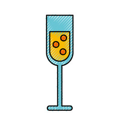 scribble champagne cup cartoon vector image