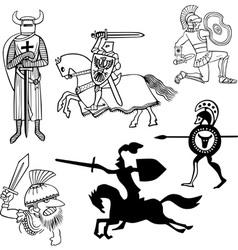 Set of warriors vector image