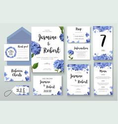 Wedding invitation invite card design hydrangea vector