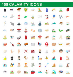 100 calamity icons set cartoon style vector