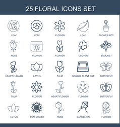 25 floral icons vector