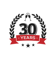 30 th birthday vintage logo template thirty years vector image