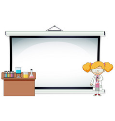 A girl with blank projector vector