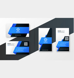 Abstract blue geometric business card design vector