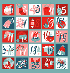 advent calendar with christmas decor elements vector image
