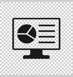 analytic monitor icon in transparent style vector image