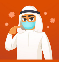 Arabian man wearing surgical mask vector