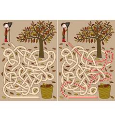 Autumn maze vector image vector image
