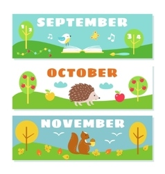 Autumn Months Calendar Flashcards Set Nature and vector image