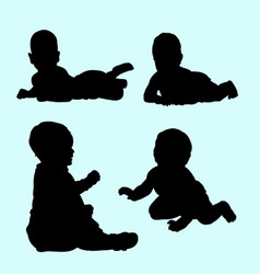 baby relax and playing silhouette vector image