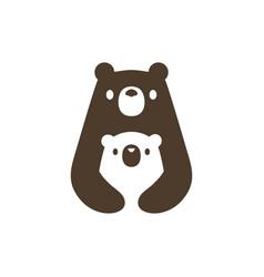 bear mom and son cub logo icon vector image