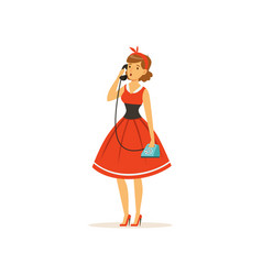 beautiful young woman talking on vintage phone vector image